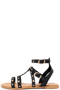 Archipelago Black Studded Flat Sandals at Lulus.com!