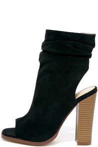 Only the Latest Black Suede Peep-Toe Booties Image