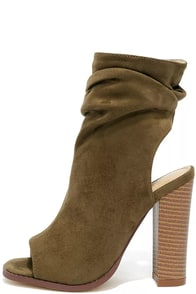 Only the Latest Olive Suede Peep-Toe Booties Image