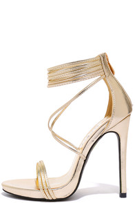 Haute and Heavy Gold Dress Sandals