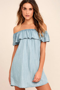 Standout Style Light Blue Chambray Off-the-Shoulder Dress