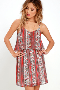 image Now and Zen Red Print Dress