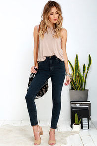 Rollas Eastcoast Washed Black High-Waisted Ankle Skinny Jeans