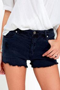 image Blank NYC Wedge Washed Black Distressed Denim Shorts