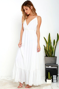 On the Road Lauryn Ivory Lace Maxi Dress at Lulus.com!