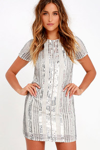 She Shall Shine Silver Sequin Shift Dress