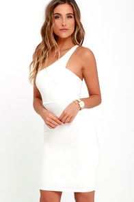 Honorable Mention Ivory One Shoulder Dress