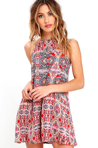 Design Major Red Print Swing Dress