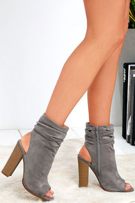 Lulus / Only the Latest Grey Suede Peep-Toe Booties / Size 5.5 / Vegan Friendly