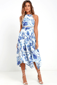 Elliatt Flourish Blue Floral Print Midi Dress