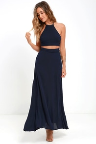 Image Walking on Heir Navy Blue Two-Piece Dress