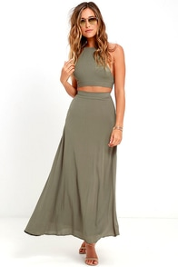 image Walking on Heir Olive Green Two-Piece Dress