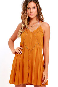 image By the Beach Orange Embroidered Swing Dress