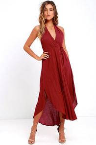 Was it a Dream Berry Red Midi Halter Dress