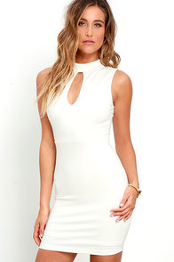 Talk the Mock Ivory Bodycon Dress