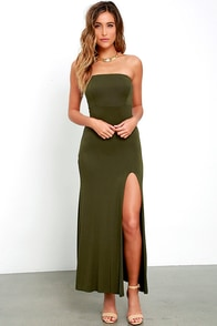 image Enchanted Forest Olive Green Strapless Maxi Dress