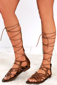 MIA Heritage Lenora Luggage Leather Tall Gladiator Sandals