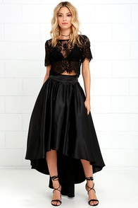 Modern Mystery Black Satin High-Low Skirt
