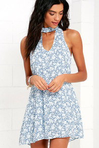 image Lean Close Ivory and Blue Floral Print Swing Dress