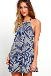 image Photosynthesis Statement Blue Print Halter Dress