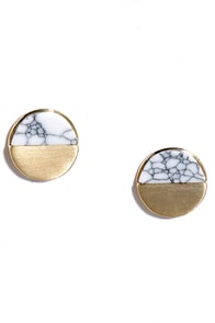 Minimal in All Gold and Ivory Earrings