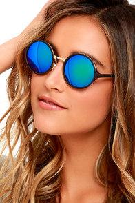 Bright Light Dark Brown Round Sunglasses