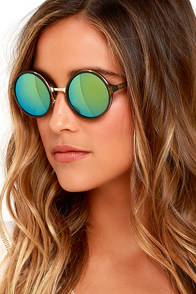 Bright Light Olive Green Round Sunglasses