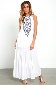 image Cloud Kisses White Embroidered Maxi Dress