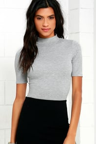Whenever Wear-ever Heather Grey Bodysuit at Lulus.com!