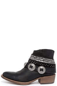 image Coconuts Hawthorne Black Studded Ankle Booties