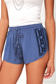 image First Surf Denim Blue Embroidered Shorts