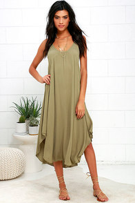image Black Swan Abba Olive Green Midi Dress