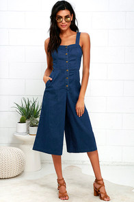Do Right Bayou Blue Chambray Midi Jumpsuit