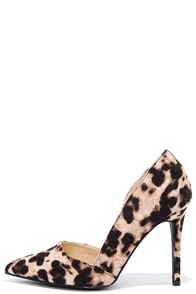 image Forest of My Life Camel Leopard Suede Pointed Pumps
