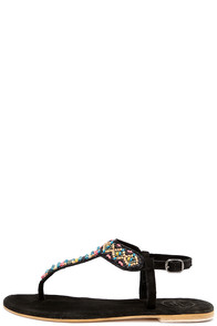 Coolway Miami Black Suede Leather Beaded Thong Sandals at Lulus.com!