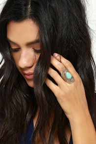 Recording Studio Turquoise and Gold Ring