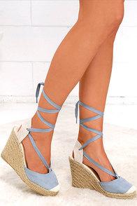 image Light-Footed Ash Blue Suede Espadrille Wedges