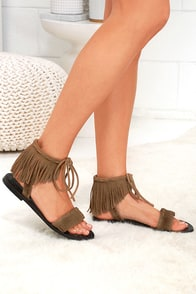 Musse & Cloud Inaya Beige Suede Leather Fringe Sandals