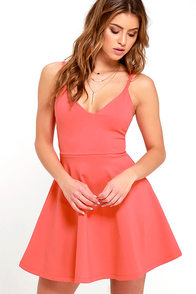 Meet Cute Coral Red Skater Dress