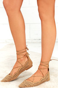 Laced Waltz Toffee Brown Cutout Lace-Up Flats