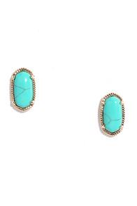 image Clever Clue Gold and Turquoise Earrings