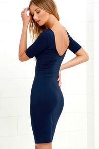 Beneath the Stars Navy Blue Bodycon Dress