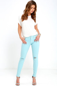 Lean With It Light Blue Distressed Skinny Ankle Jeans