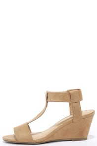 image Launch Party Natural Suede Wedge Sandals
