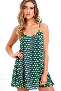 image Pond Pixie Green Floral Print Swing Dress