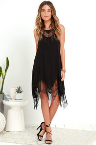 Amuse Society Lilah Black Fringe Shift Dress