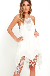 Amuse Society Lilah Ivory Fringe Shift Dress
