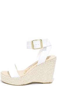 image Vacation Mode White Espadrille Wedges