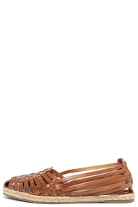image Seychelles Nifty Tan Leather Huarache Flats