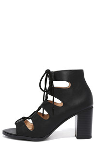 image City Sights Black Lace-Up Heels